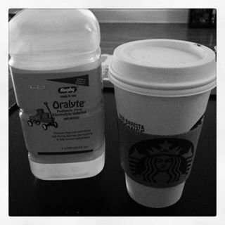 Drinks of choice this morning: one for the sickling and one for the mama who was up all night. Lawwwd help us today. ☕