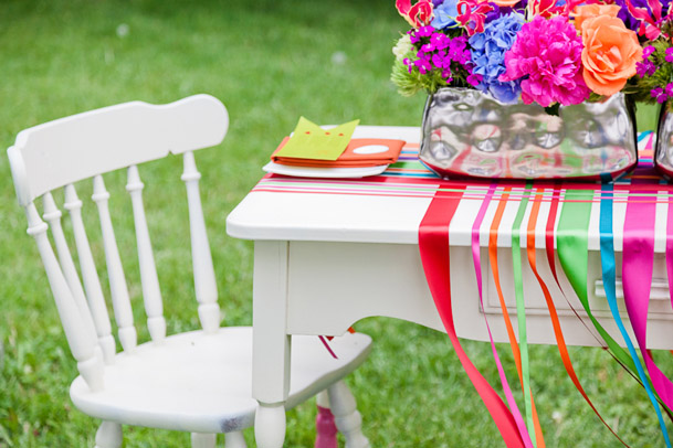 white table ribbons colorful wedding