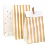Gold Stripes and Dots Treat Bags (set of 10)