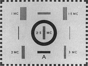 Optical monochrome BBC Test Card A from 1936-39