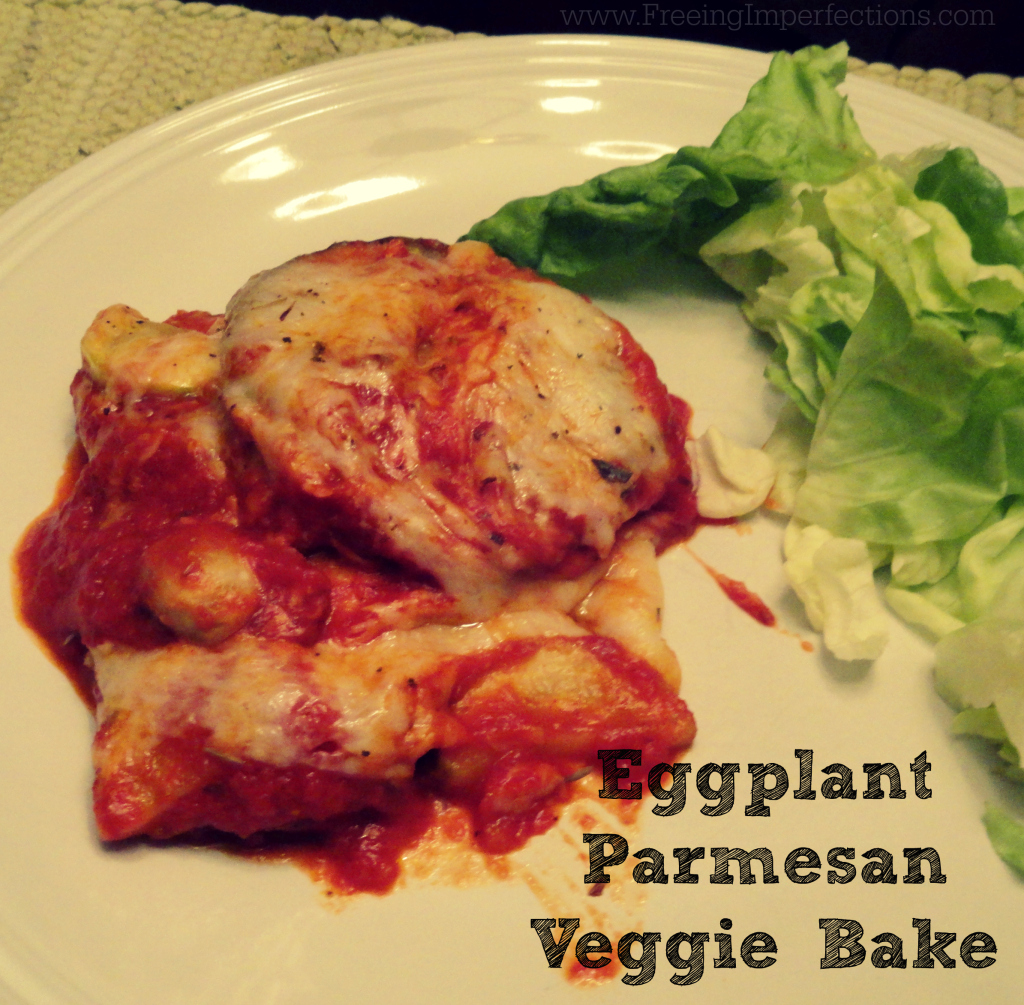 Eggplant Parmesan Veggie Bake - delicious, cheesy meal loaded with veggies & ready fast!
