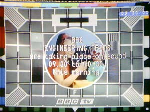 Test Card F, BBC1 with text overlay