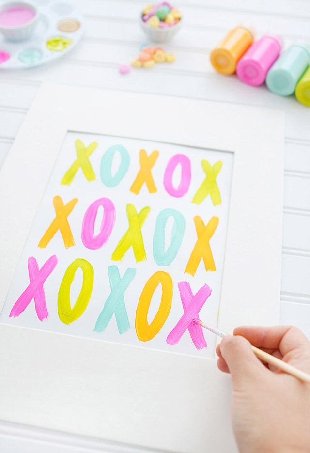 Step by Step Instructions for Valentine's Day DIY Art via Armelle Blog