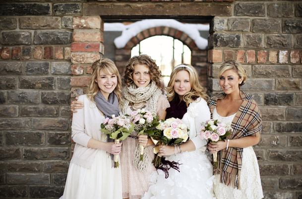 DIY Wedding at the Chicago Chophouse in Calgary - winter wedding shawls covers bridesmaids
