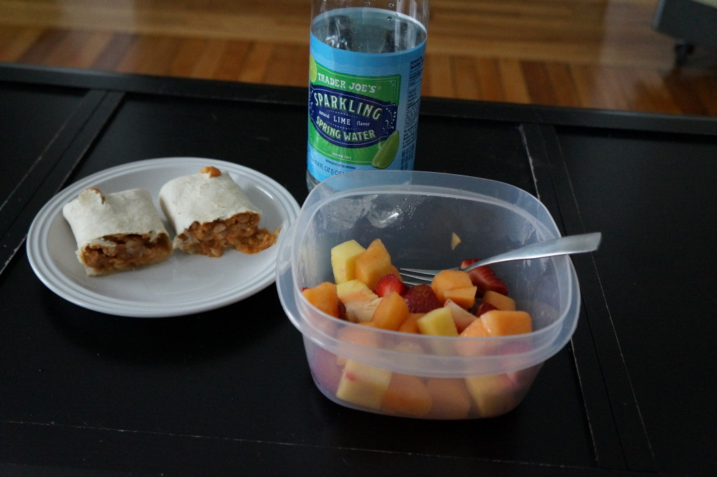 burrito & fruit salad