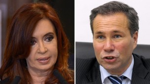 File photos of Argentine President Cristina Kirchner (left), Buenos Aires, September 19, 2012, and of Argentina's deceased public prosecutor Alberto Nisman (right), Buenos Aires, May 20, 2009 (photo credit: Juan Mabromata/AFP)
