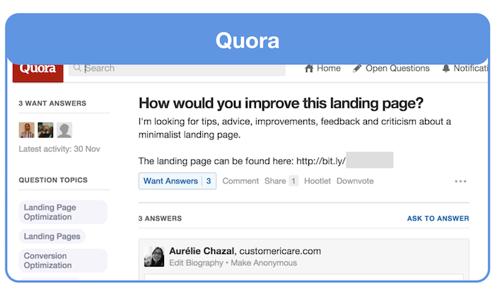 get feedback on your landing page on quora