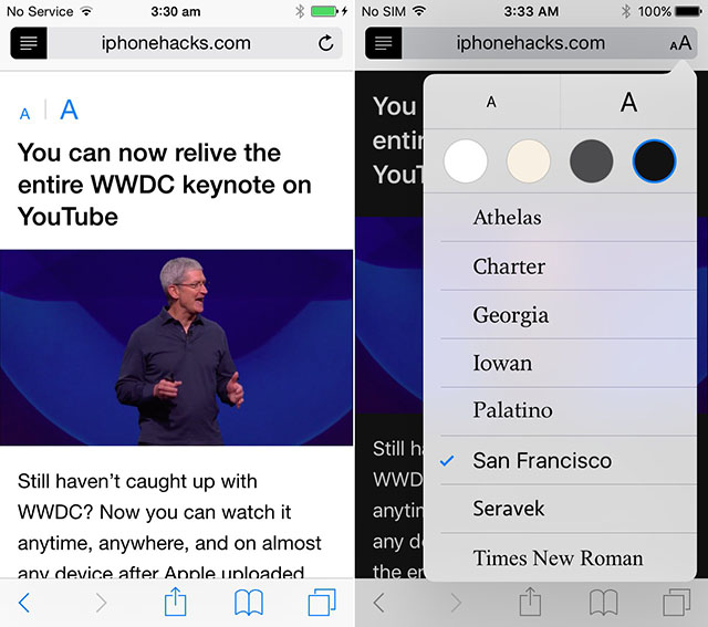 iOS 8 vs. iOS 9 - Reader mode