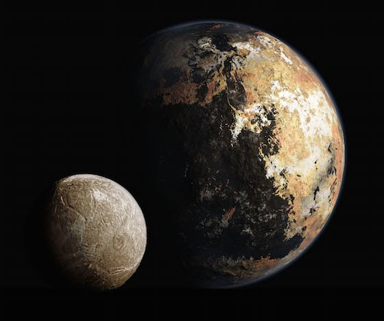 Pluto and Charon in detail-artist's rendering