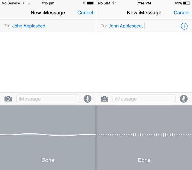 iOS 8 vs. iOS 9: Dictation UI