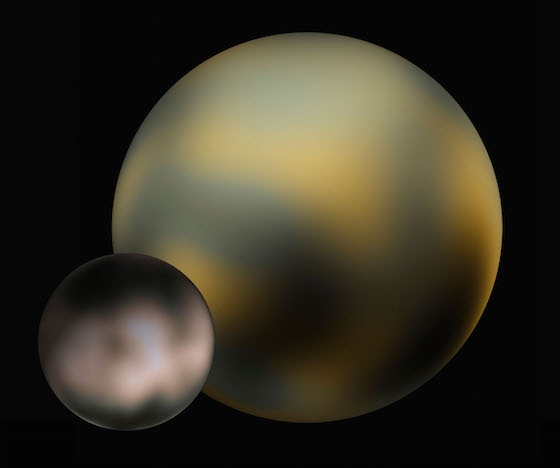 Pluto and Charon at the best resolution obtained by the Hubble Space Telescope