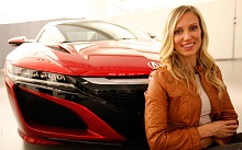 Sports car designer Michelle Christensen poses with Acura NSX mockup