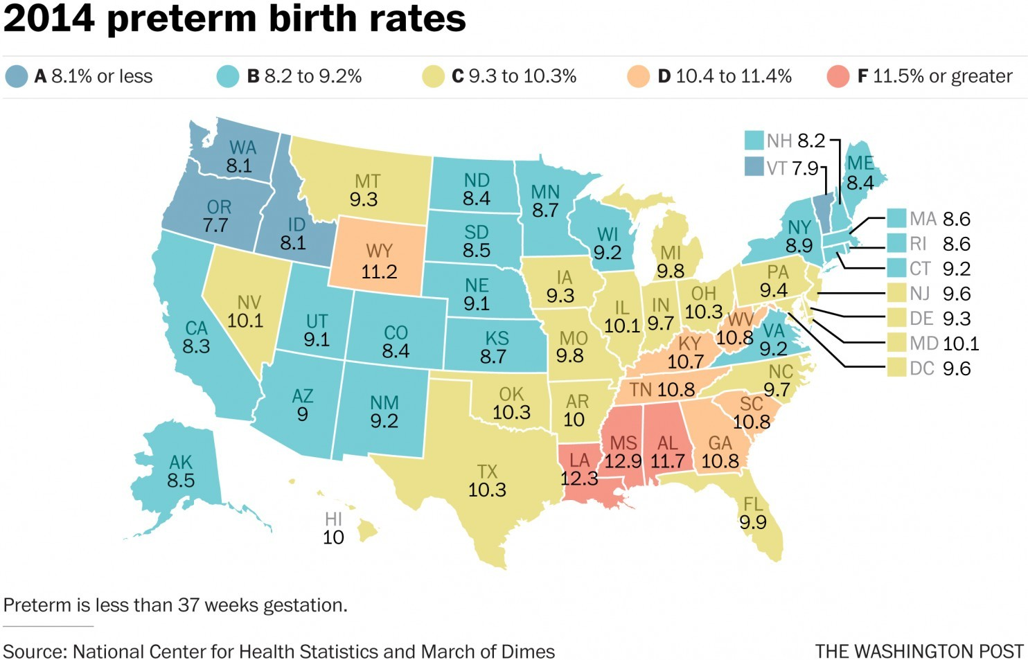 The states where more babies are born prematurely