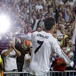 Real Madrid's Portuguese striker Cristiano Ronaldo celebrates after scoring against FC Copenhaguen