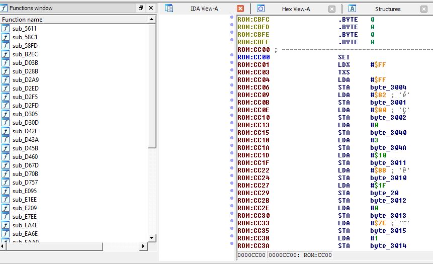 Tamagotchi startup code (0xcc00 is the reset vector)