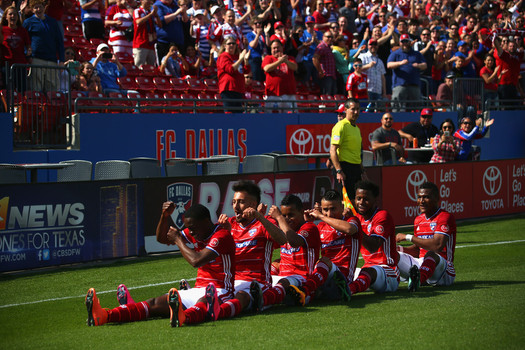 FC Dallas players celebrate their opening goal