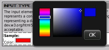 HTML5 Color form field, Blackberry