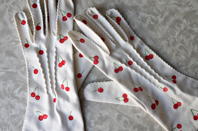 DIY Cherry print vintage gloves