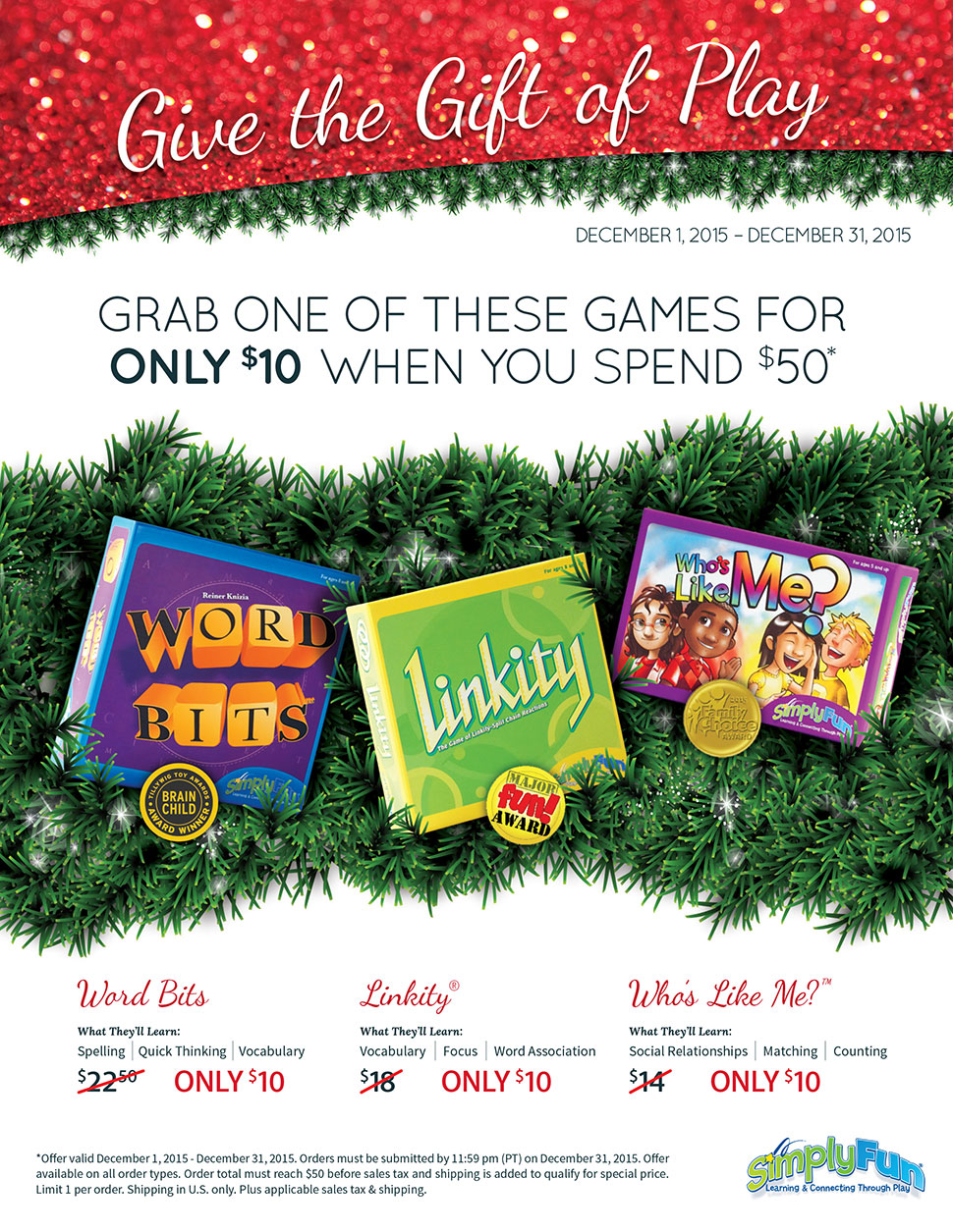 SimplyFun December Special! Get one of these games for only $10 when you spend $50!