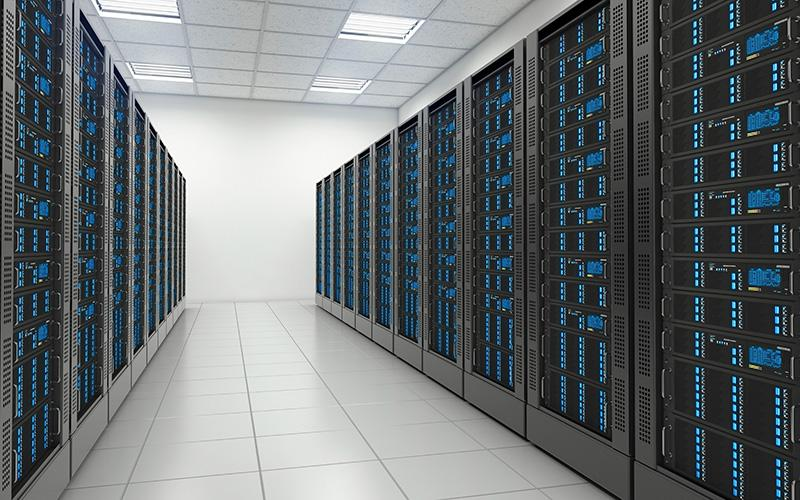 data center with rows of servers