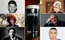 Clockwise: Samuel Beckett, Father Ted, Dara O'Briain, Sinead O'Connor, Oscar Wilde and Edna O'Brien and the famous Irish drink, Guinness