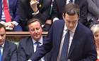 David Cameron appears to mime along with George Osborne during Budget speech