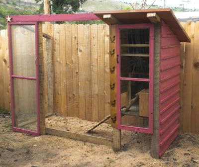 a salvaged chicken coop