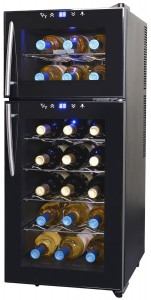 NewAir AW-210ED Streamline 21 Bottle Dual Zone Thermoelectric Wine Cooler, Black