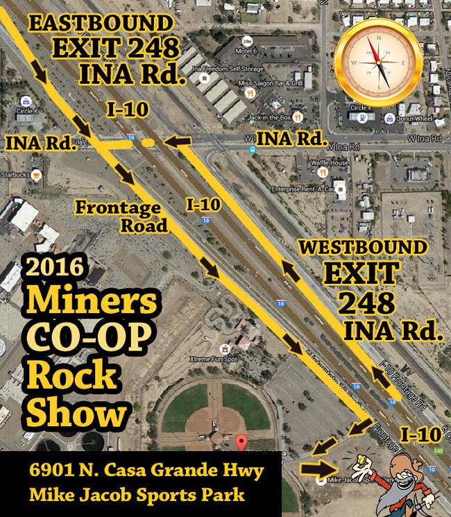 2016 Tucson Rock Gem Mineral Fossil Show - Miner's Co-op Rock Show in Marana, AZ Map