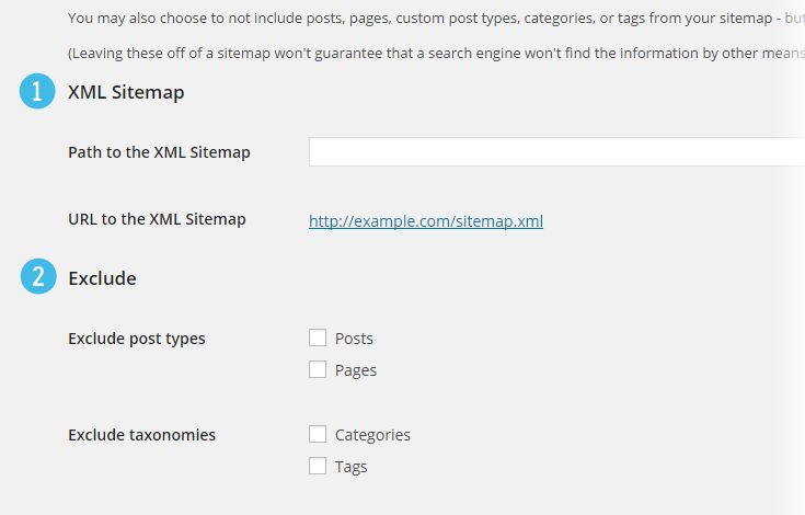 XML Sitemap and Exclude