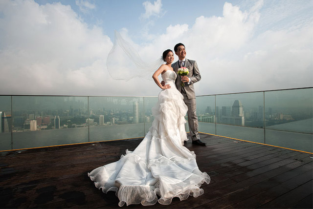 Marina Bay Sands rooftop wedding photo