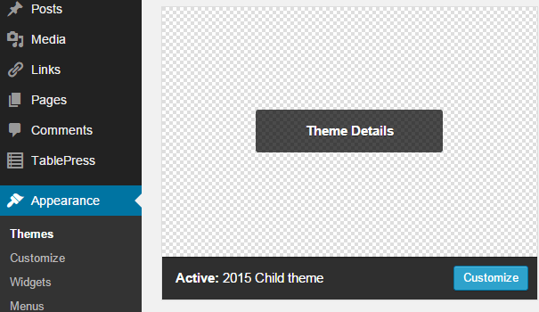 create twenty fifteen child theme
