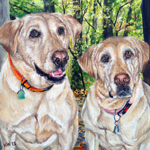 yellow lab oil painting