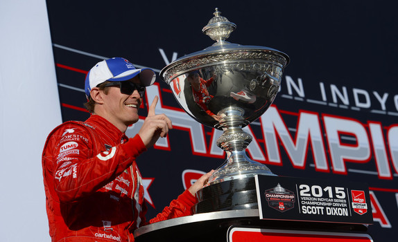 Verizon IndyCar Series champion Scott Dixon poses with the Astor Cup at the 2015 GoPro Grand Prix of Sonoma.