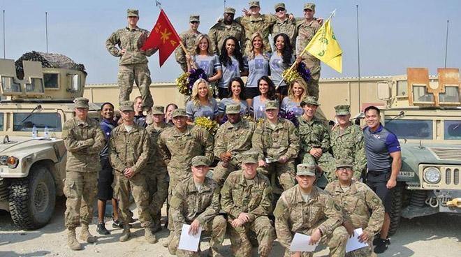 Cheerleaders Go Overseas To Visit Troops
