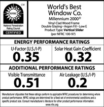 This shows an example of a NRFC label you should expect to help you find the best vinyl replacement windows for you.