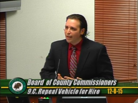 Jared Grifoni speaking at Board of County Commissioners CC (12-8-15)(photo from vidto)