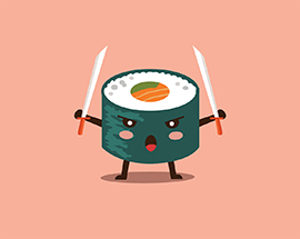 Vector sushi cartoon character illustration.