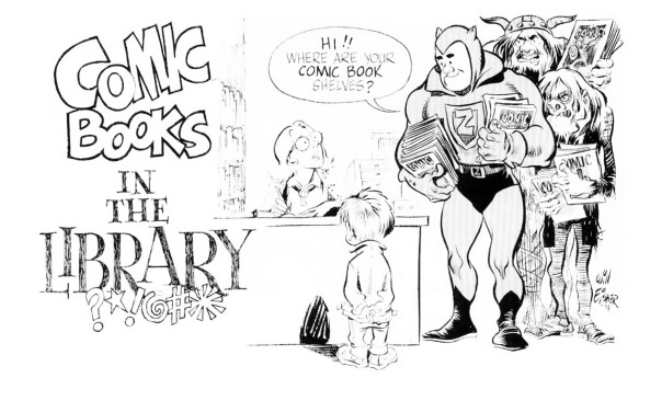 COMIC BOOKS IN THE LIBRARY.