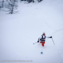 Laetitia starting out well skiing the Magic Forest powder