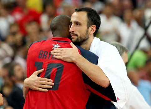 LONDON, ENGLAND - AUGUST 10: Kobe Bryant #10 of United States and Manu Ginobili #5 of Argentina hug after the United States defeats Argentina 109-83 during the Men's Basketball semifinal match on Day 14 of the London 2012 Olympic Games.
