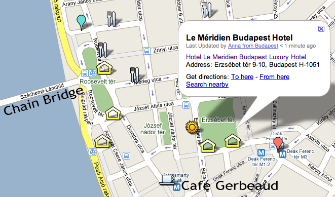 Location of Five-star Hotel Le Meridien Budapest Hungary