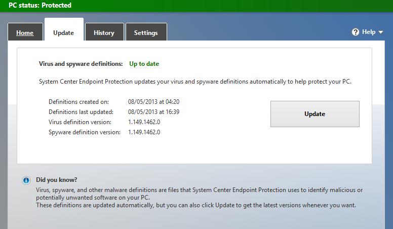 Screenshot of the Update tab on Microsoft security software