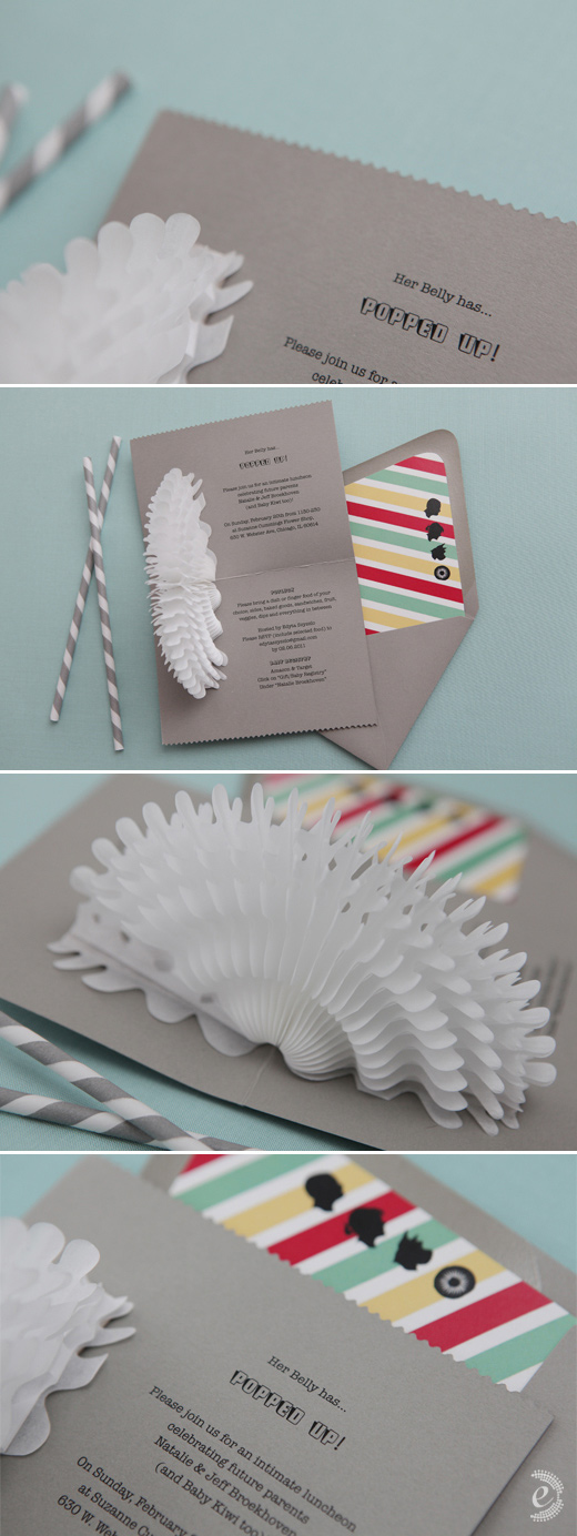 grey red yellow mint green invitations