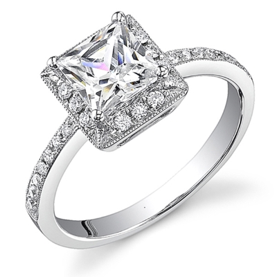 A beautiful princess cut diamond engagement ring with accent stones