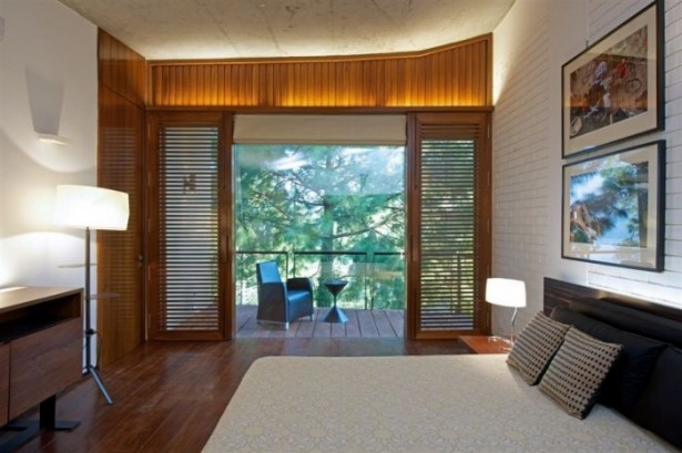 Amazing Himalayan House Provides Fresh Panorama and Leafy Greenery: Modern Bedroom With Large Windows Modern Concrete House Wooden Door ~ dickoatts.com Amazing Home Designs Inspiration