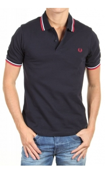Polo-shirt Fred Perry caballeros Azul Marino Rojo/blanco Twin Tipping Slim Fit