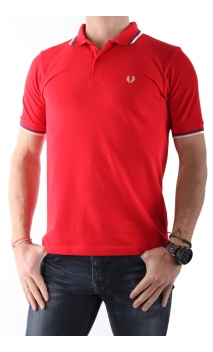 Polo-shirt Fred Perry red blue/white Twin Tipped