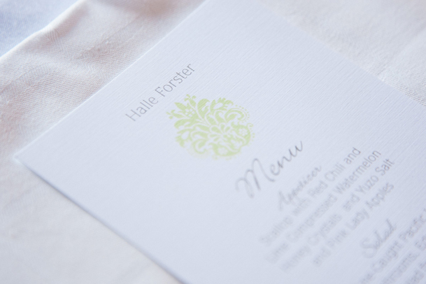 wedding menu green white classic