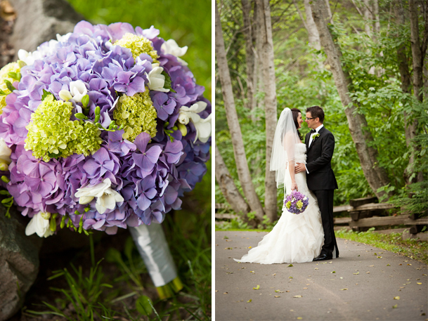 green purple wedding bouquet white wrap